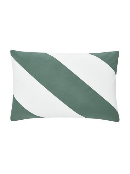 Gestreifte Kissenhülle Ren in Salbeigrün/Weiß, 100% Baumwolle, Weiß, Salbeigrün, 30 x 50 cm