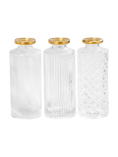 Set 3 vasi decorativi in vetro Adore, Vetro verniciato, Trasparente, dorato, Ø 5 x Alt. 13 cm