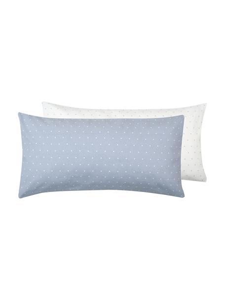 Dwustronna poszewka na poduszkę z flaneli Betty, 2 szt., Jasny niebieski, biały, S 40 x D 80 cm