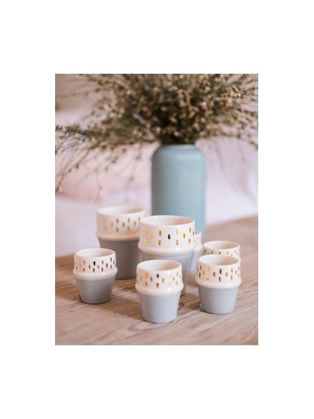 Tazza fatta a mano stile marocchino con dettagli dorati Beldi, Ceramica, Grigio chiaro, crema, oro, Ø 8 x Alt. 11 cm