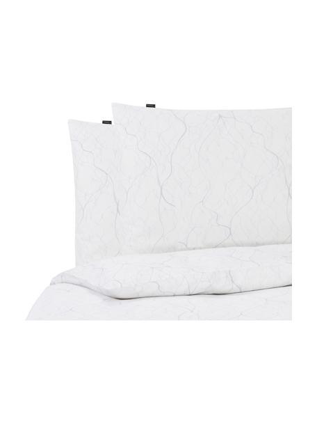 Katoensatijnen dekbedovertrek Delta, Gebroken wit, lichtgrijs, 200 x 220 cm