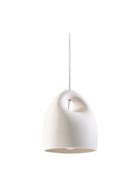 Kleine keramische hanglamp Sativa, Lampenkap: keramiek, Baldakijn: gecoat metaal, Wit, Ø 20 x H 26 cm