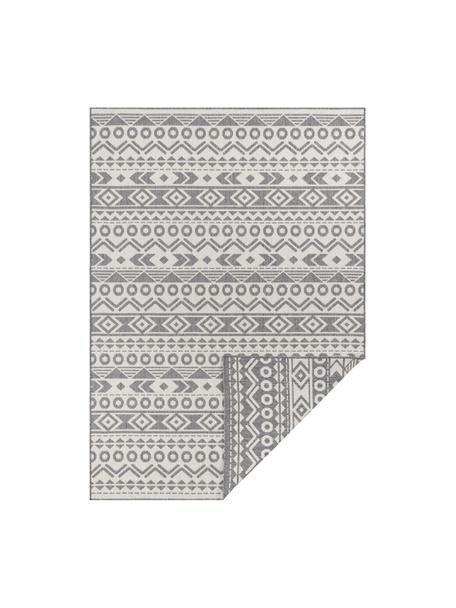 In- & Outdoor-Wendeteppich Baha mit Ethnomuster, 100% Polypropylen, Grau, Cremeweiß, B 80 x L 150 cm (Größe XS)