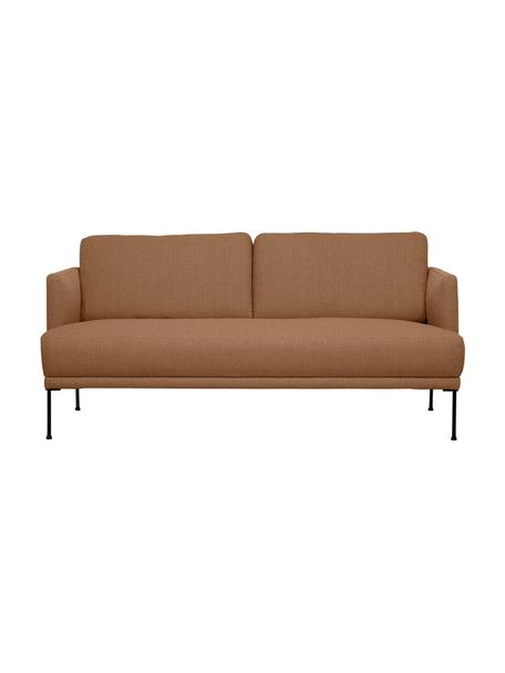 Sofa Fluente (2-zits) in nougat met metalen poten, Bekleding: 100% polyester, Frame: massief grenenhout, Poten: gepoedercoat metaal, Geweven stof nougatkleurig, B 166 x D 85 cm