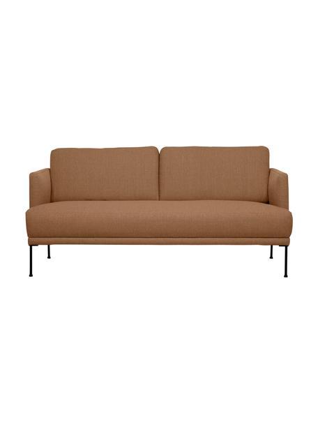 Sofa z metalowymi nogami Fluente (2-osobowa), Tapicerka: 100% poliester Dzięki tka, Stelaż: lite drewno sosnowe, Nogi: metal malowany proszkowo, Nugat, S 166 x G 85 cm