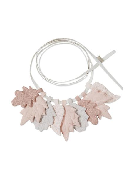 Ghirlanda in cotone organico Leaves, 2020 cm, Tonalità rosa, grigio, Lung. 220 cm
