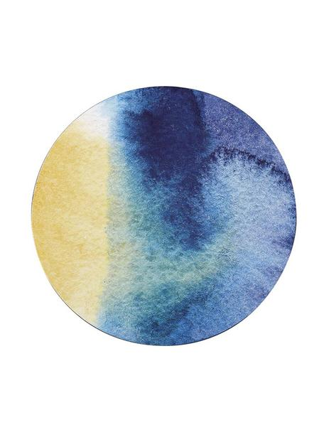 Ronde placemats Inky, 4 stuks, Bovenzijde: kunststof, Onderzijde: kurk, Blauw, wit, geel, turquoise, Ø 29 cm