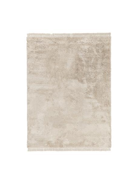 Flauschiger Hochflor-Teppich Dreamy mit Fransen, Flor: 100% Polyester, Creme, B 300 x L 400 cm (Größe XL)