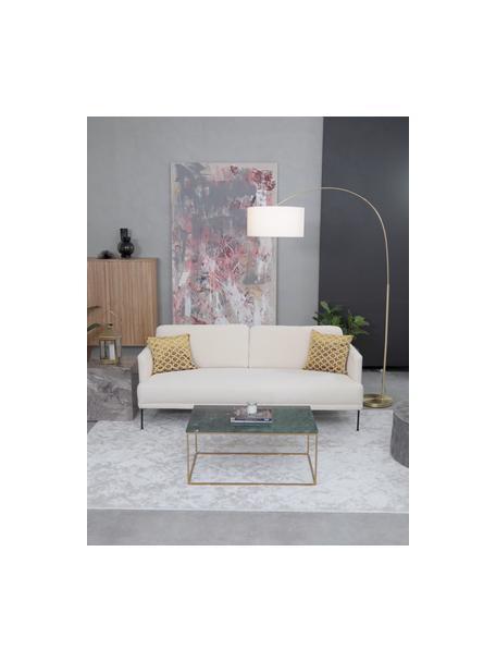 Teddy-Sofa Fluente (3-Sitzer) in Cremeweiss mit Metall-Füssen, Bezug: 100% Polyester (Teddyfell, Gestell: Massives Kiefernholz, Teddy Cremeweiss, B 196 x T 85 cm