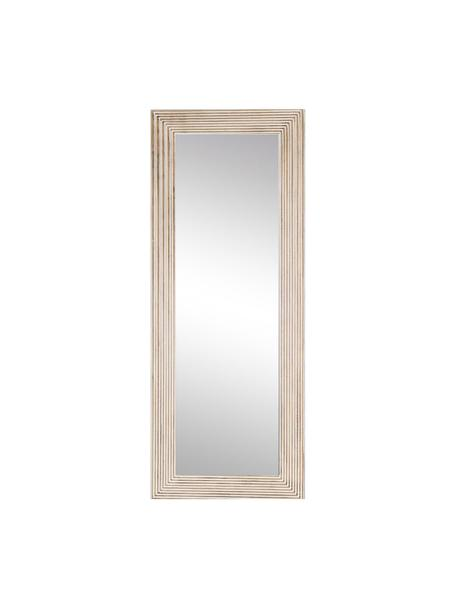 Espejo de pared de madera Furrows, Espejo: cristal, Beige, blanco, An 59 x Al 150 cm
