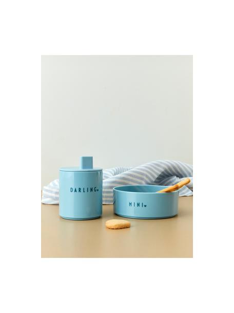 Tazza per bambini con diverse scritte avanti e dietro Mini Favorite, Senza Tritan, BPA, BPS e EA, Blu, Ø 7 x Alt. 8 cm