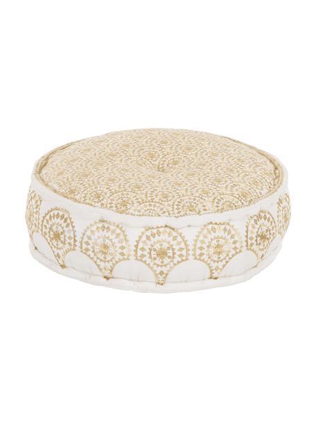 Rundes Bodenkissen Casablanca, bestickt, Bezug: 100% festes Baumwollcanva, Weiß, Goldfarben, Ø 60 x H 25 cm
