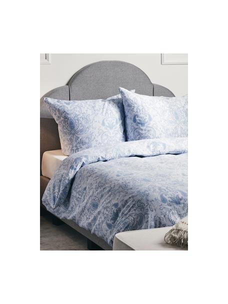 Pościel z satyny bawełnianej Grantham, Niebieski, 135 x 200 cm + 1 poduszka 80 x 80 cm