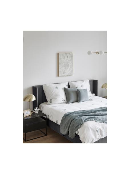 Gestoffeerd fluwelen bed Dusk in antraciet, Frame: massief grenenhout en pla, Bekleding: polyester fluweel, Poten: gepoedercoat metaal, Fluweel antraciet, 140 x 200 cm
