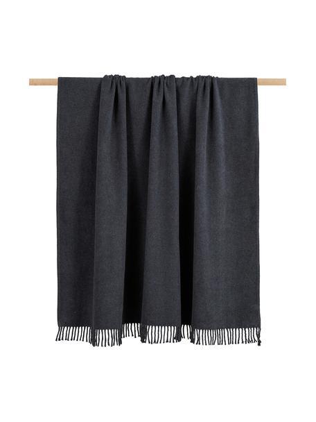 Coperta in cotone grigio scuro Plain, 50% cotone, 50% acrilico, Grigio scuro, Larg. 140 x  Lung.180 cm