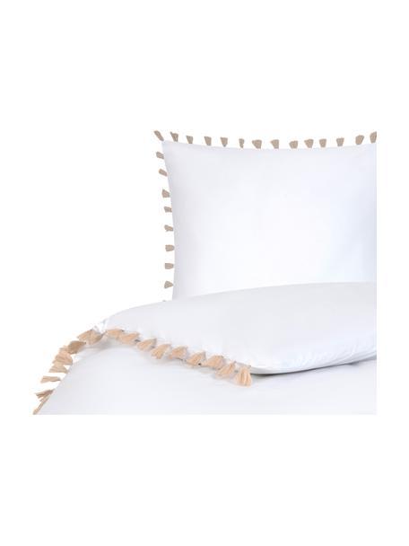 Pościel z perkalu z chwostami Quo, Biały, beżowy, 135 x 200 cm + 1 poduszka 80 x 80 cm