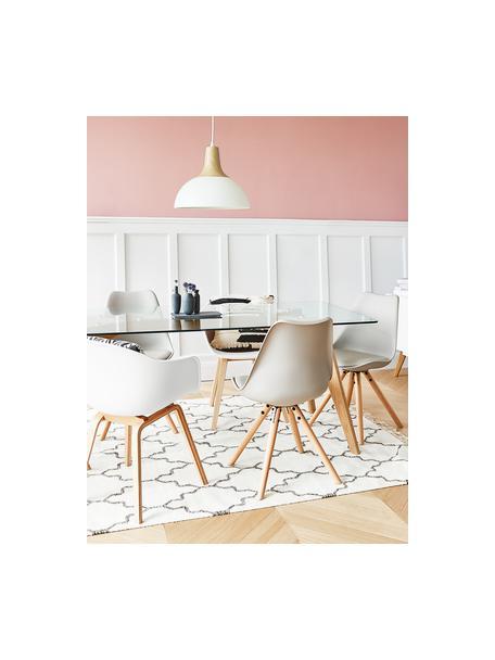 Sedia con braccioli e gambe in legno Claire, Seduta: materiale sintetico, Gambe: legno di faggio, Bianco, Larg. 60 x Prof. 54 cm