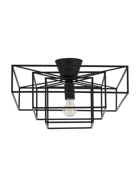 Plafondlamp Cube in zwart, Baldakijn: gelakt messing, Zwart, 46 x 27 cm