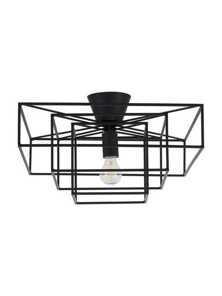 Plafoniera nera Cube, Baldacchino: ottone verniciato, Nero, Lar. 46 x  Alt. 27 cm