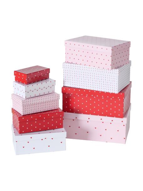 Komplet pudełek prezentowych Illum, 9 elem., Papier, Biały, czerwony, blady różowy, Komplet z różnymi rozmiarami