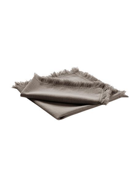 Stoffen servetten Henley met franjes, 2 stuks, 100% katoen, Greige, 45 x 45 cm