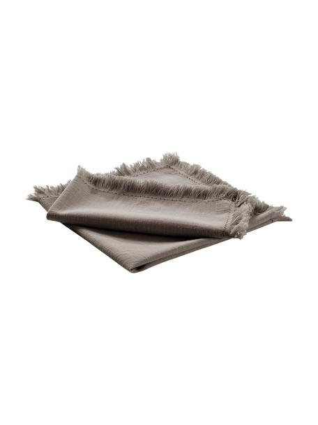Tovagliolo in tessuto con frange Henley 2 pz, 100% cotone, Greige, Larg. 45 x Lung. 45 cm