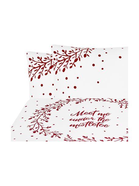 Pościel z flaneli Mistletoe, Biały, czerwony, 200 x 200 cm + 2 poduszki 80 x 80 cm