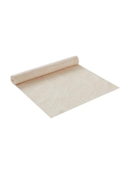 Katoenen tafelloper Vida in beige met fijne lijnen, 100% katoen, Beige, 40 x 140 cm