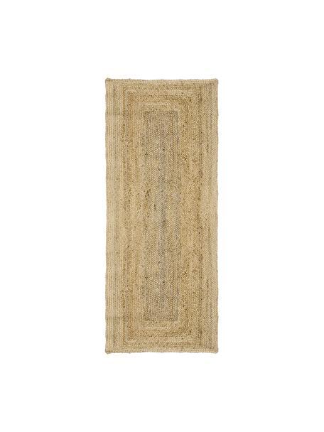 Passatoia in juta taftata a mano Sharmila, Beige, Larg. 80 x Lung. 200 cm