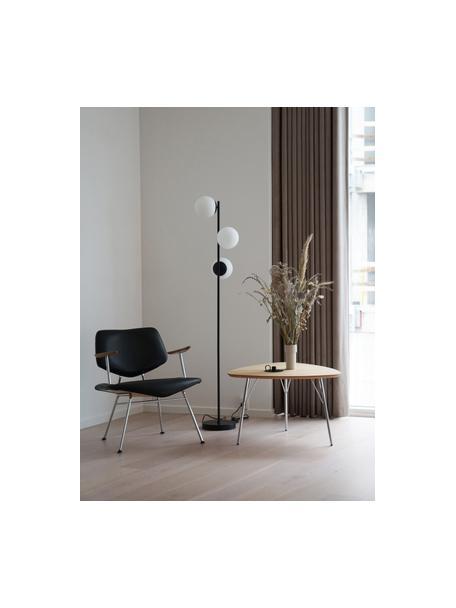 Lámpara de pie de vidrio opalino Lilly, Cable: plástico, Negro, blanco, Ø 30 x Al 150 cm