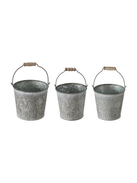 Set de maceteros pequeños Silene, 3uds., Asa: madera, Zinc, Set de diferentes tamaños