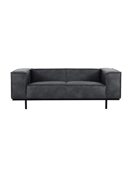 Sofa ze skóry z metalowymi nogami Abigail (2-osobowa), Tapicerka: skóra naturalna (70% skór, Nogi: metal lakierowany, Ciemny szary, S 190 x G 95 cm