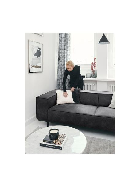 Sofá de cuero Abigail (2plazas), Tapizado: fibra de cuero (70%cuero, Patas: metal pintado, Gris oscuro, An 190 x F 95 cm