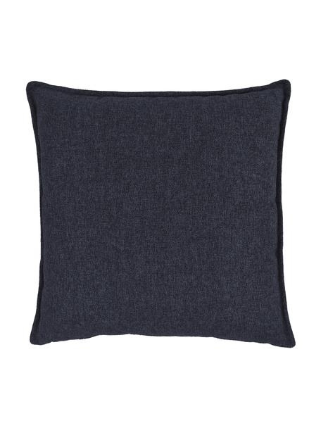 Cuscino arredo blu scuro Lennon, Rivestimento: 100% poliestere, Blu, Larg. 60 x Lung. 60 cm