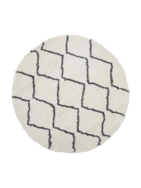 Hoogpolig vloerkleed Velma in crèmewit/donkergrijs, Bovenzijde: 100% polypropyleen, Onderzijde: 78% jute, 14% katoen, 8% , Crèmewit, donkergrijs, Ø 150 cm (maat M)