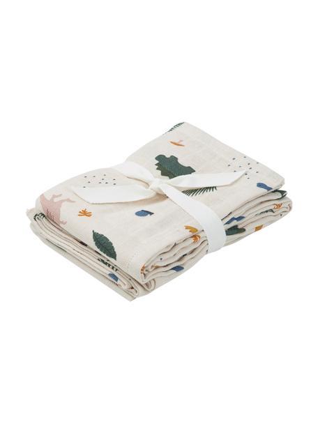 Set 2 panni in cotone biologico per avvolgere bambino Hannah, 100% cotone biologico, Bianco, multicolore, Larg. 70 x Lung. 70 cm