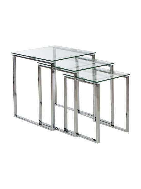 Beistelltisch 3-Set Katrine mit Glasplatte, Gestell: Stahl, verchromt, Tischplatte: Sicherheitsglas, Chrom, Transparent, Set mit verschiedenen Grössen