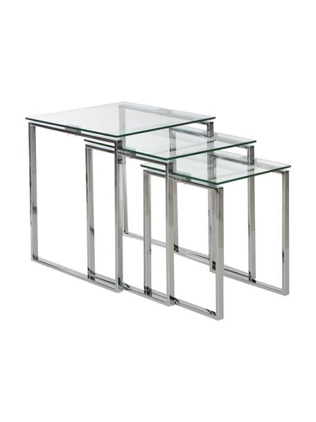 Set 3 tavolini con piano in vetro Katrine, Struttura: acciaio cromato, Piano d'appoggio: vetro temperato, Cromo, trasparente, Set in varie misure