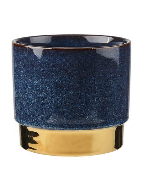 Macetero Golden Touch, Gres, Azul, dorado, Ø 15 x Al 13 cm
