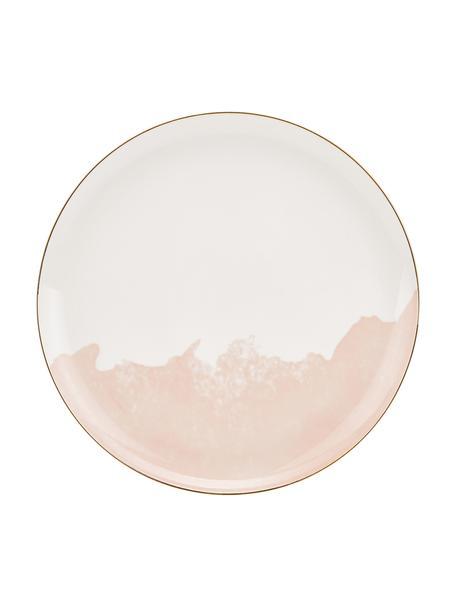 Porseleinen dinerborden Rosie met goudkleurige rand en kleurverloop, 2 stuks, Porselein, Wit, roze, Ø 26 x H 2 cm