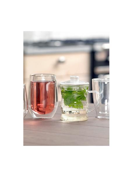 Dubbelwandige theeglazen Isolate, 2 stuks, Borosilicaatglas, dubbelwandig, Transparant, Ø 8 x H 13 cm