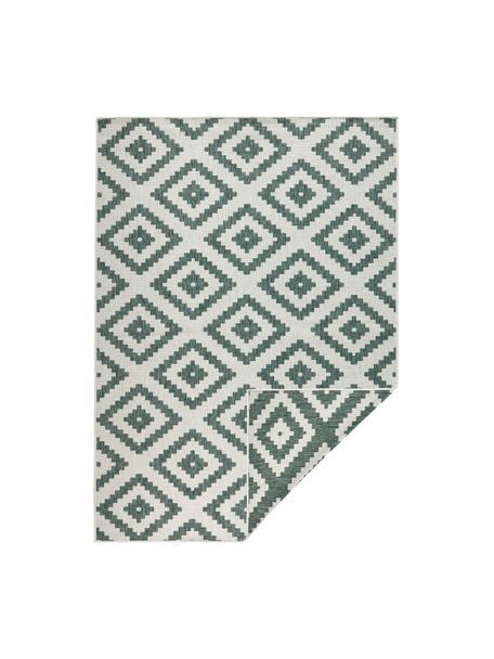 Dubbelzijdig in- en outdoor vloerkleed Malta in groen/crèmekleur, 100% polypropyleen, Groen, crèmekleurig, B 80 x L 150 cm (maat XS)