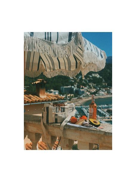 Gestreifter Sonnenschirm Retro mit Fransen, abknickbar, Gestell: Holz, laminiert, Fransen: Baumwolle, Schwarz, Gebrochenes Weiss, Ø 180 x H 230 cm