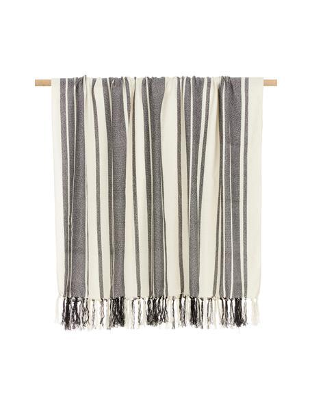 Gestreepte plaid Lines van gerecycled polyester, 100% gerecycled polyester, Zwart, wit, 130 x 170 cm
