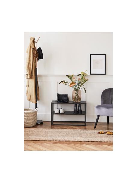 Półka na buty z metalu Neptun, Metal malowany proszkowo, Czarny, S 70 x W 45 cm