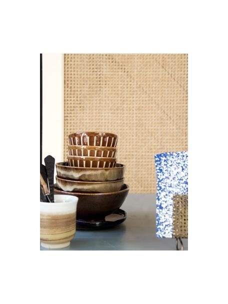 Handgemachte Becher Yunomi im japanischen Style, 2 Stück, Steingut, Braun, Weiß, Cremefarben, Ø 8 x H 9 cm