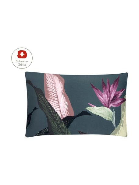 Baumwollsatin-Kissenbezug Flora in Dunkelgrau, 65 x 100 cm, Webart: Satin Fadendichte 210 TC,, Vorderseite: Mehrfarbig Rückseite: Dunkelgrau, 65 x 100 cm