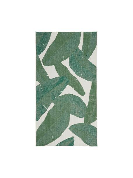 Tappeto da interno-esterno con motivo foglie Jungle, 86% polipropilene, 14% poliestere, Bianco crema, verde, Larg. 80 x Lung. 150 cm (taglia XS)