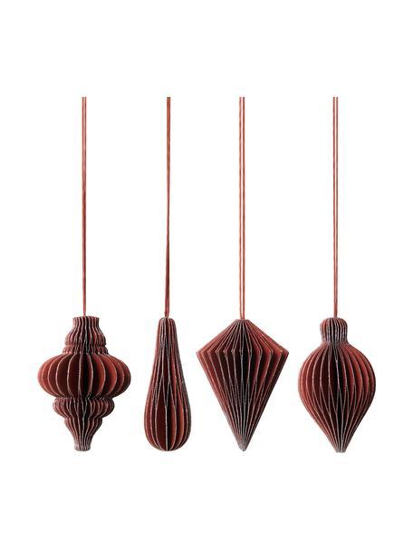 Baumanhänger-Set Winnie H 7 cm, 4 Stück, Rot, Silberfarben, Ø 5 x H 7 cm