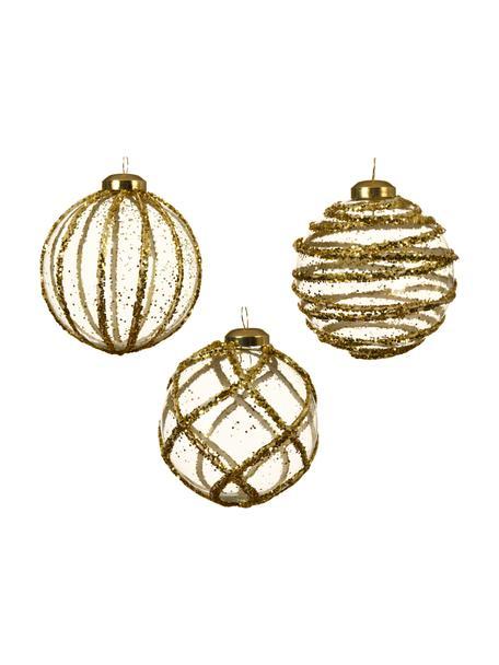Weihnachtskugeln Circles Ø 8 cm, 3 Stück, Goldfarben, Transparent, Ø 8 cm